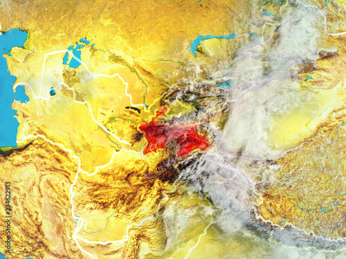 Fotobehang Vlinders in Grunge Tajikistan from space on model of planet Earth with country borders. Extremely fine detail of planet surface and clouds.