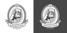 Vintage Whiskey Bar Monochrome Emblem