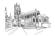 Vector Sketch Of  The Saint Bavo Cathedral (Sint-Baafs Cathedral) In Ghent, Belgium.