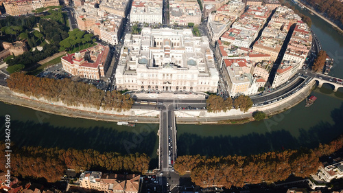 Fotografie, Obraz  Aerial drone bird's eye panoramic view of famous Cavour square and iconic neocla