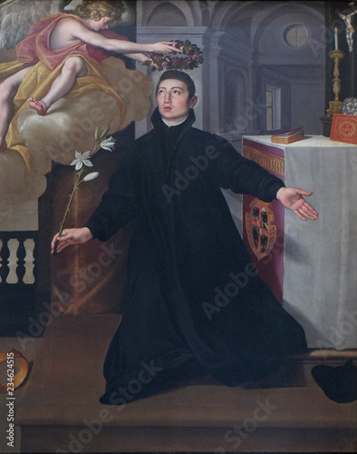 Canvas Print Saint Aloysius Gonzaga, altarpiece in Mantua Cathedral dedicated to Saint Peter,