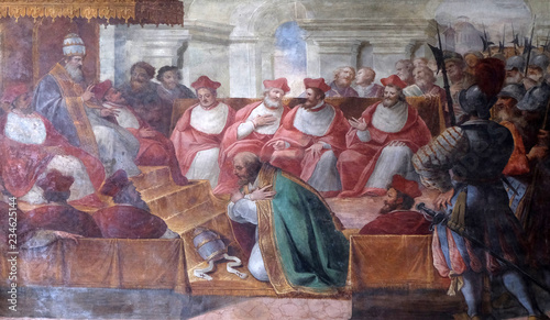 Photo  The Council of Mantua of 1067, fresco in Mantua Cathedral dedicated to Saint Pet