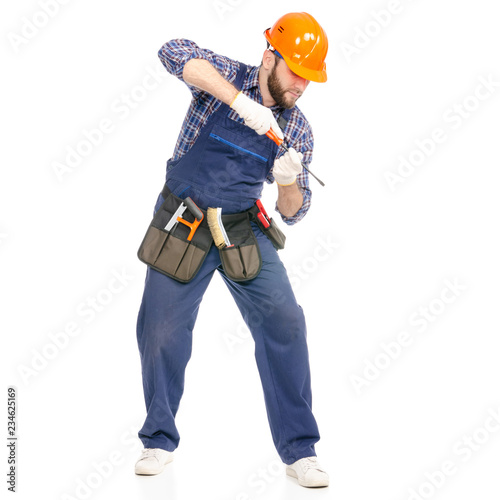Young man builder with toolbelt screwdriver industry worker hardhat on white bac Fototapete