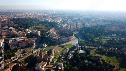 Fotografie, Obraz  Aerial drone view of iconic ancient Arena of Colosseum, also known as the Flavia