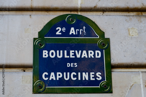 Canvas Boulevard des Capucines. plaque de nom de rue, Pariss
