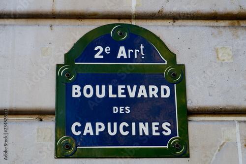Boulevard des Capucines. plaque de nom de rue, Pariss Canvas Print