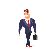 Smiling Businessman Walking With Briefcase, Successful Business Character Cartoon Vector Illustration On A White Background