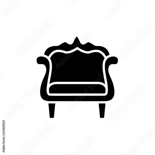 Fine Black White Vector Illustration Of Vintage Wooden Armchair Home Remodeling Inspirations Genioncuboardxyz
