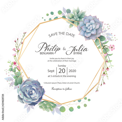 Fototapeta Beautiful Greenery Wedding Invitation Card On White Background Vector Succulent Wax Flower Sillver Dollar Plant