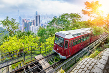 View Of Victoria Peak Tram In Hong Kong.