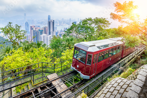 Photographie View of Victoria Peak Tram in Hong Kong.