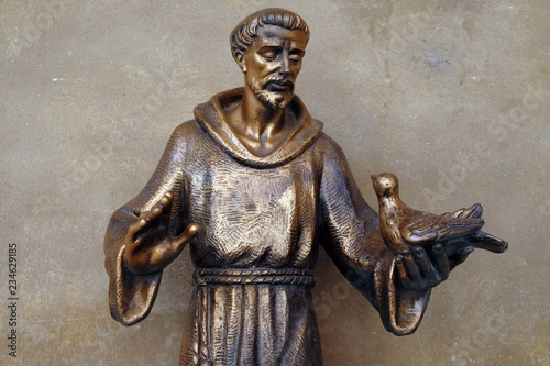 Sain Francis of Assisi statue in Saint Francis church in Mantua, Italy Canvas Print