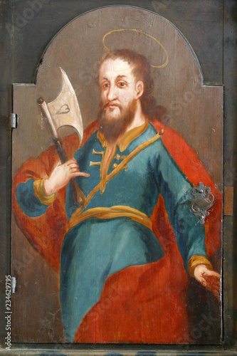 Saint Matthew the apostle, picture on a wardrobe in the sacristy of the church o Wallpaper Mural