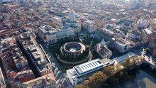 Aerial Drone Photo Of Iconic Ruins Of Mausoleum Of Augustus In The Heart Of Rome, Italy