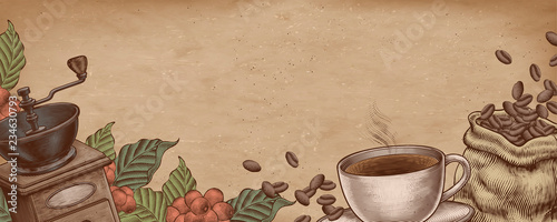 Fototapeta Coffee woodcut banner obraz