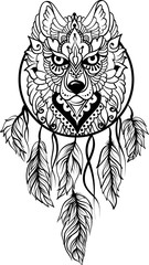 Naklejka Do salonu Drawing of a wolf in ethnic tribal stile with dreamcatcher, feathers, black line art on white background