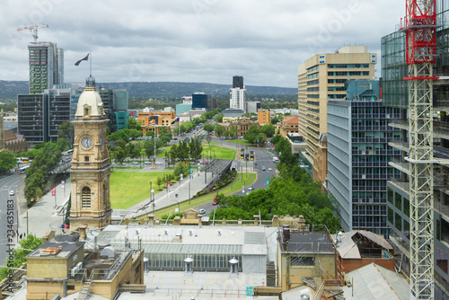 Adelaide, AUSTRALIA - Nov 21, 2018: Victoria Square historical centre of South Australian Capital city with old iconic building and new construction sites high view urban cityscape