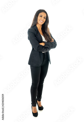 Cuadros en Lienzo Full body portrait of a attractive businesswoman looking happy and successful