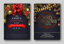 Merry Christmas Festive Poster Or Invitation Card Templates.