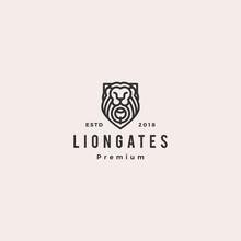 Lion Gate Liongates Logo Vector Hipster Retro Vintage Label Illustration