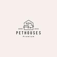 Dog Cat Pet House Shop Logo Vector Hipster Retro Vintage Illustration