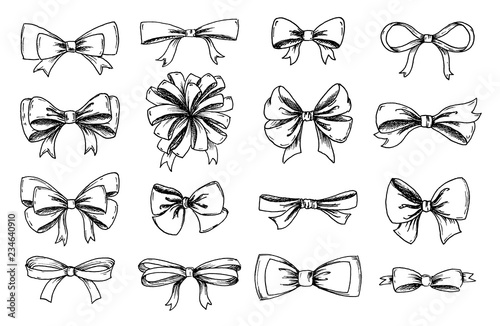 Foto Vector hand drawn collection of lush bows and confetti