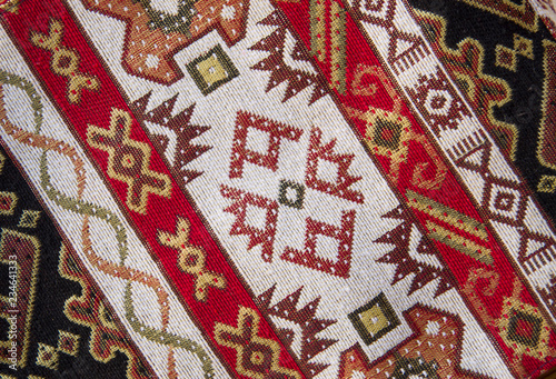 Fotografia  Colorful armenian fabrics closeup