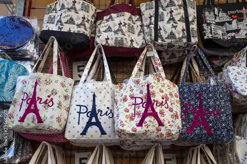PARIS, FRANCE, SEPTEMBER 7, 2018 - Bags with Paris logo on