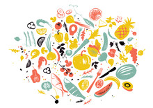 Set Of Food Objects: Sea Food, Vegetables And Fruits. Healthy Lifestyle Eating. Farmers Market