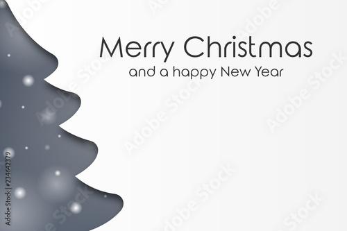 Fotografía  Weihnachtskarte mit Tannenbaum - Schneeflocken