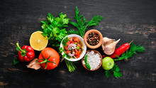Salsa Sauce And Ingredients. L...