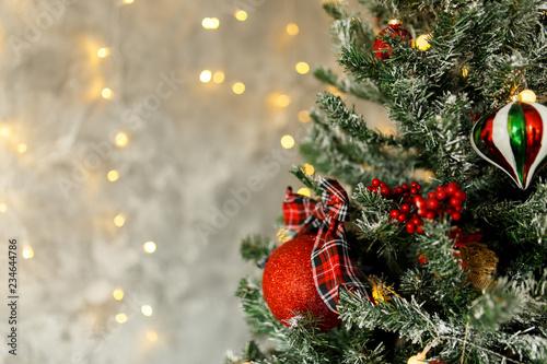 Fototapeta Beautiful Christmas Balls Hanged On The Christmas Tree Branch obraz