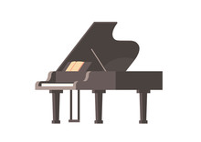 Classic Musical Instrument Black Piano Isolated Horizontal Flat