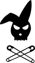 Rabbit Skull And Crossed Pins