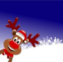 Christmas Reindeers Cartoon On A Blue Background