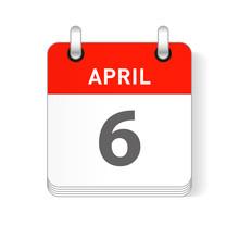 April 6 Calendar Date Design