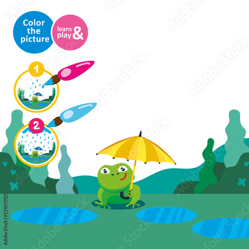 Photo Frog with an umbrella in the rain