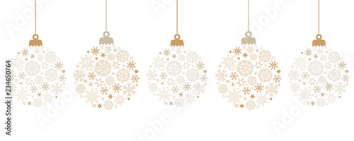 hanging bright christmas ball decoration with snowflakes vector illustration EPS Wallpaper Mural