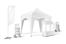 Vector Outdoor Exhibition Tent Pop Up Marquee Mock