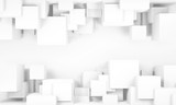 Abstract white digital background, cubes 3 d