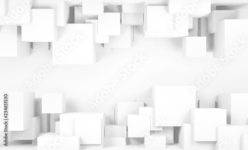 Photo Abstract white digital background, cubes 3 d