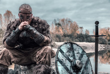 Fierce Viking Warrior Wounded In Battle