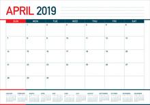 April 2019 Desk Calendar Vecto...
