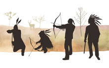 Vector Illustration. Indians Silhouettes . Man On The Hunt. Element Of Design.