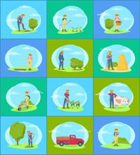 Farmer Working On Farm With Tools Cartoon Set