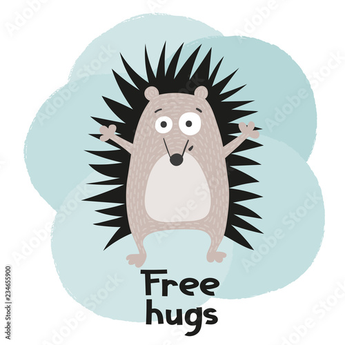 Hand drawn funny hedgehog. Vector illustration. Fototapeta