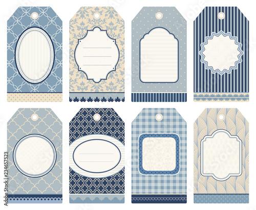 8 Retro Christmas Hangtags Blue/Grey/Beige Canvas Print