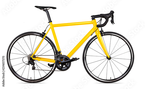 yellow black racing sport road bike bicycle racer isolated