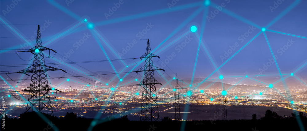 Fototapety, obrazy: High power electricity poles in urban area connected to smart grid. Energy supply, distribution of energy, transmitting energy, energy transmission, high voltage supply concept photo.