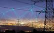 Leinwandbild Motiv High power electricity poles in urban area connected to smart grid. Energy supply, distribution of energy, transmitting energy, energy transmission, high voltage supply concept photo.